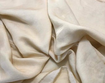 Hand Dyed ECRU Silk and Cotton Blend Sateen Fabric - 1/3 Yard