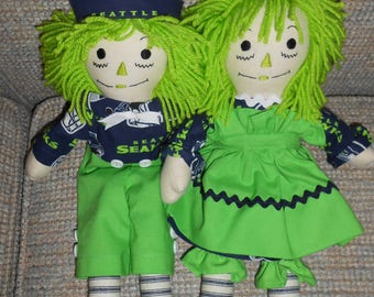 15 inch Seahawks Raggedy Ann and Andy Doll Sets