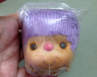 Girl Doll Head and Hands Set, Yarn Hair ,3 1/2 inches Lavender Purple Hair