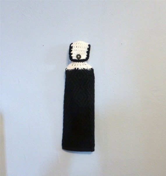 Hanging Kitchen Towel Black and White Towel Textured