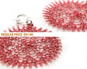 Holiday Sale - Red flower earrings , spring fashion