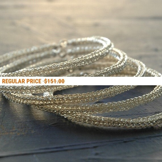 Holiday Sale - Sterling silver bangle bracelets , three 3 bangles, wire crochet