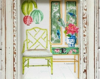 Pantone Greenery, Chinoiserie Art, ORIGINAL PAINTING, Pagoda, Furniture, Pastel Colors, Faux Bamboo Chair, Ginger Jar, Painting of Interior