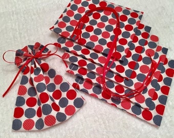Red White and Blue, Mini Gift Bags, Fabric Treat Bags, Gift Wrap, Product Supply Bags, Soap Bags, Patriotic Favor Bags, USA, 4th of July