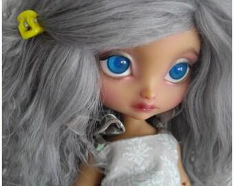 """Grey tibetan mohair wig for bjd 8"""" imda3.0 and smaller sd size"""