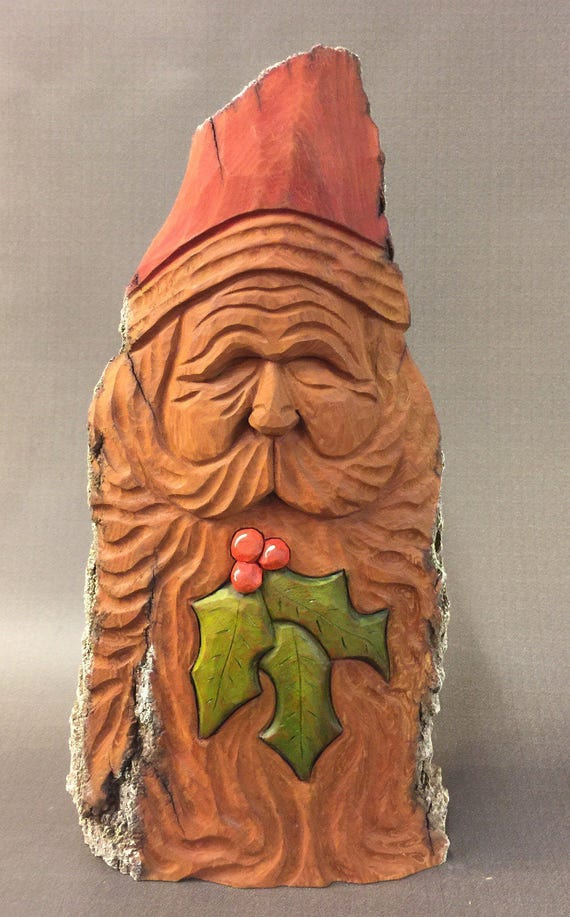 HAND CARVED original Santa bust w/ holly leaves from 100 year old Cottonwood Bark.