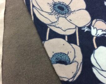 Flannel Blue Floral Baby Blanket