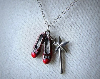 SALE Red Ruby Slippers Wizard Of Oz Jewelry Dorothy Shoes Wand Charm Necklace