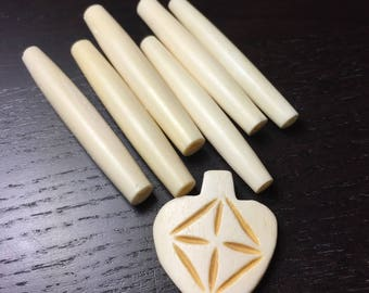 Ivory Bone Hairpipe Beads and Carved Pendant Set for Necklace