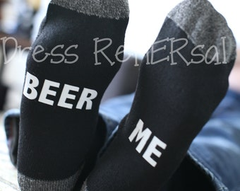 Beer Me Mens socks made to match women if you you can read this bring me a glass of wine