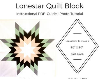 Lone Star Quilt Block Tutorial | PDF Instructions | Photo Tutorial | Quilt Tutorial | Quilt Block Instructional Guide Download | Sewing