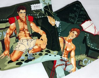 Hot Dishes - Outdoorsy Type - Backpacker - Hiker - Rock Climber - Mountain Man - Pot Holders - Hot Pad - Oven Mitt - Pinup - Beefcake -