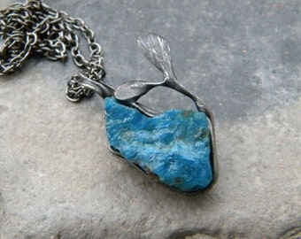 Raw Blue Apatite Necklace, Apatitecrystal, wire wrapped crystal,  Ampatite pendant, rough stone,