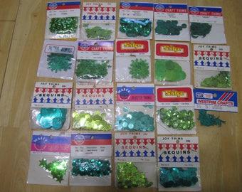 Vintage green sequins, green sequins, flower sequins, snowflake sequins, sunburst sequins , daisy sequins, sequins, vintage