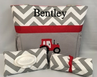 Tractor   ...  Diaper Bag .. Changing Pad  ...  WIPE Cover Set ... Gray Chevron