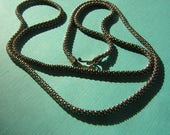 """Vintage Sterling Silver Chain Necklace - Signed 925 Heavy Double Beaded Smooth Snake Texture 27"""" Long"""