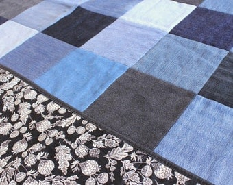 Throw Quilt From Recycled Denim - Black Botanical Backing - Black and White