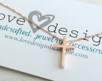 Rose Gold Cross Charm Necklace