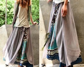 Nepalese sari cotton chiffon maxi skirt / paisley pattern skirt / peacock feather skirt / boho layered skirt / cerulean skirt (Q1106)