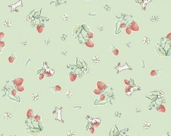 Bunnies and Cream, By Lauren Nash Bunnies Strawberry Mint C6021-MINT