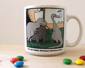 Vintage 1980s Gary Larson cartoon mug. Real Reason Dinosaurs Became Extinct. Geekery.