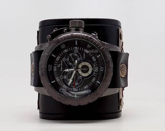 Steampunk watch. Men watch. Quartz watch.Leather cuff watch.