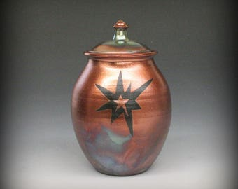 Raku Urn or Lidded Vase with Starburst