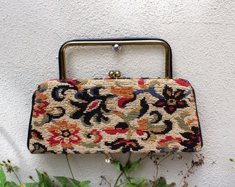 Vintage Tapestry Clutch with Hidden Handle