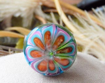 One of a Kind Lampwork Glass Interchangeable Ring