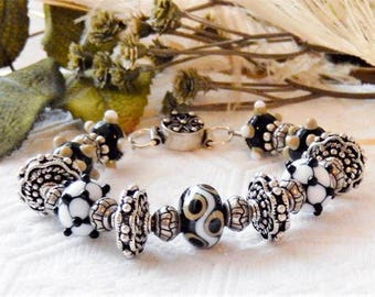 One of a Kind Sterling Silver and Lampwork Glass Bracelet
