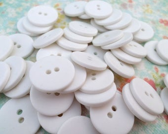 50 White Vintage Buttons Plastic Buttons 3/4 Inch