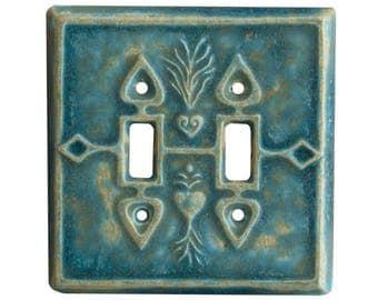 Charms Ceramic Double Toggle Light Switch Cover in Aqua Stone Glaze