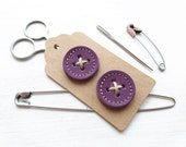 Big leather handmade borrower BUTTONs on gift tag. Perfect for all knitwear. 30mm X 2 in pansy