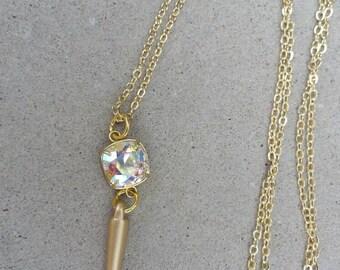 Beautiful Swarovski Crystal Long Spike Necklace, Crystal A/B