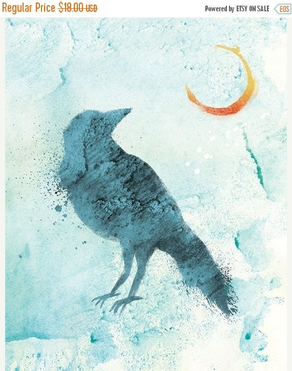 Mothers Day Sale Raven Art Moon Print - Call of the Moon - 8x10 Print