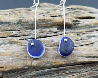 Argentium silver and sea glass earrings