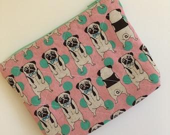 Pug Dog Zipper Pouch, Pug Dog Bag, Pug Dog Wallet