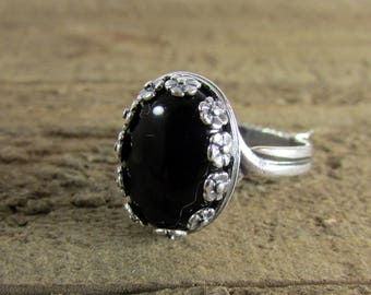 Black Onyx & Silver Ring, Cabochon Onyx Ring, Gemstone Ring