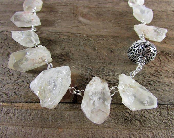 Crystal Quartz Chunky Necklace, Crystal Choker, Bold Quartz Crystal Necklace, Chakra Crystal Choker