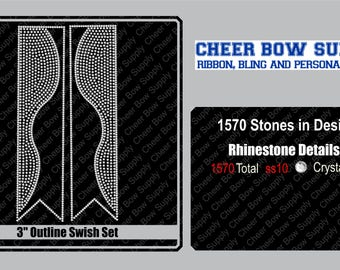 "3"" Cheer Bow Kick Swish Rhinestone Strip 3"" X 13"" INSTANT FILE DOWNLOAD"