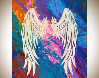 Christmas gift angel wing original artwork colorful blue purple turquoise wall art home decor spiritual art - qiqigallery