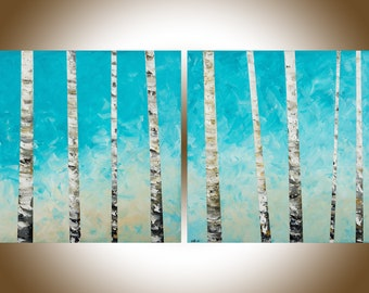 "Birch Painting 60"" extra large wall art Turquoise white Birch Tree painting painting on canvas home office wall decor by qiqigallery"