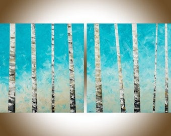 "Birch Painting Turquoise white Birch Tree painting 60"" extra large wall art painting on canvas home office wall decor by qiqigallery"