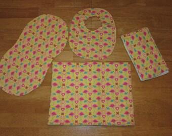 receiving blanket swaddling blanket burp cloth - flamingo love