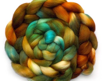 Superfine Merino, Baby Alpaca and Silk Handdyed Roving Combed Top - Copper Canyon, 5.1 oz.
