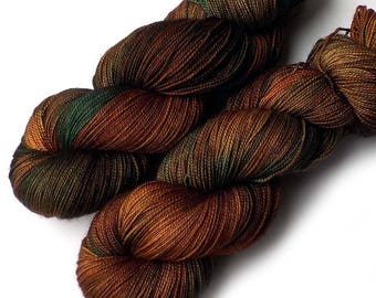 600 Yards Hand Dyed Yarn Merino and Silk Fingering Yarn - The Forest for the Trees, 600 yards/150 grams