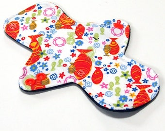 "8"" Light Flow Reusable Cloth Menstrual pad- pantyliner - bamboo/cotton core- Windpro - knit cotton top in ""Koi Fish"""