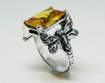 Dragonfly Statement Ring - Golden Citrine Color Dragonfly Ring - Gemstone Dragonfly Jewelry - Silver Vintage Inspired November Birthstone