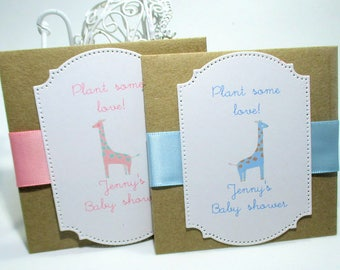 Elegant Baby Shower - Giraffe - Personalized - Favors - Wildflower Seeds - Plant some love - Kraft Brown - Set of 10