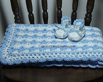 Baby Shower Blanket Crocheted Baby Afghan Blanket and Booties